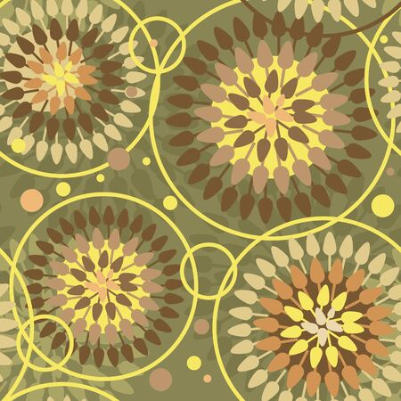 Flowers abstract seamless texture, Hippie trend Vector