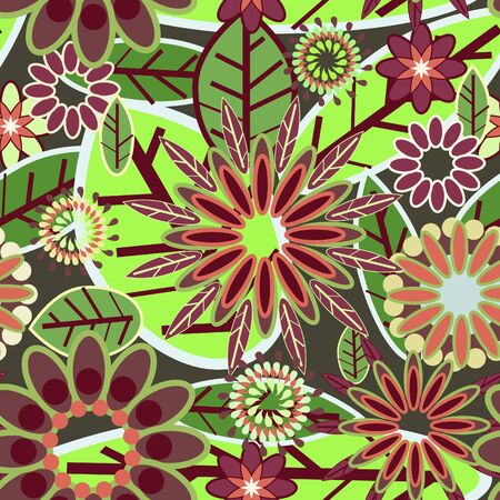Flowers abstract seamless texture in original colors Vector