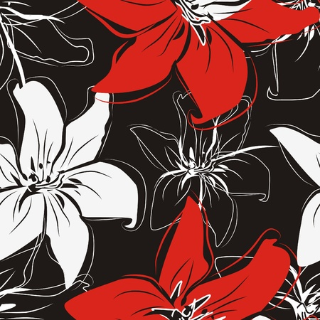 Flowers texture in red, white and black color Vector