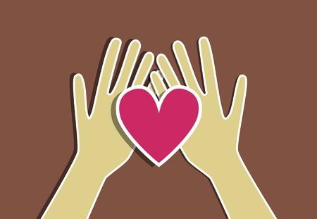 corazon rosa: Rosa coraz�n en la mano. Ilustraci�n de concepto
