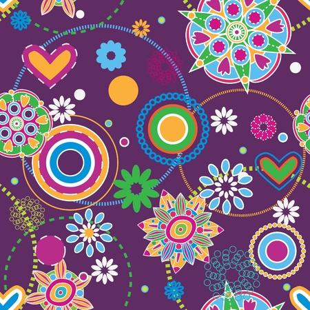 花抽象的なシームレスなテクスチャ、ヒッピーの傾向