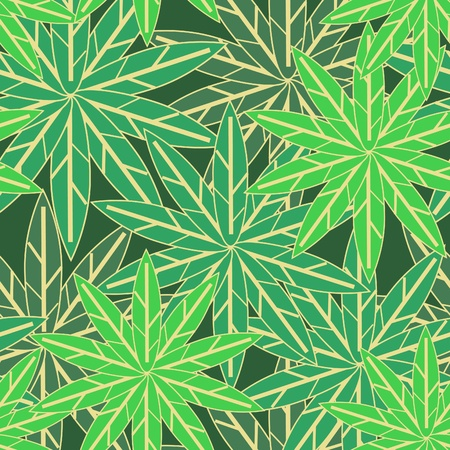 Seamless texture with green leafs Vector