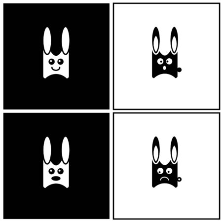 clip-art with four rabbit emotions Stock Vector - 8631584