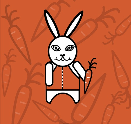 White rabbit in waistcoat with carrot Stock Vector - 8631595