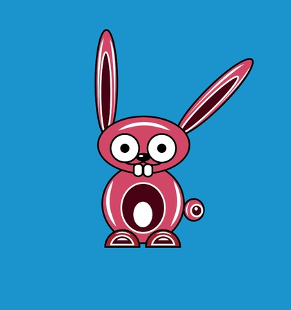 Pink cartoon rabbit on a blue background Vector