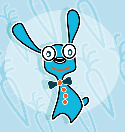 Blue rabbit with bow tie and carrot background Vector