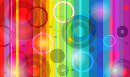 Rainbow bright background with circle and bubbles Stock Vector - 8720889