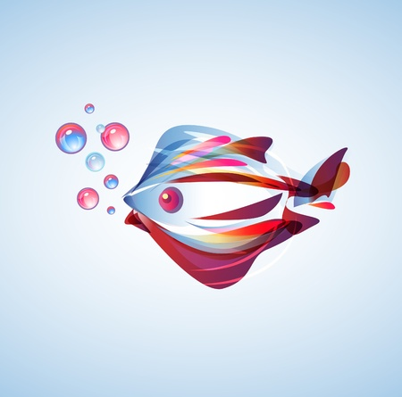 Beautiful abstract fish with bright multicolor lines Vector