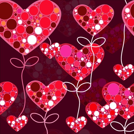 Red modern seamless texture with hearts Stock Vector - 8720989
