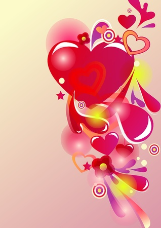 Beautiful abstract background with hearts and bright multicolor lines Vector