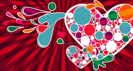 Beautiful abstract background with hearts and bright red lines Vector