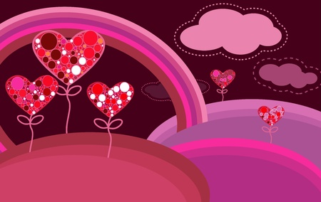 Beautiful abstract landscape with hearts trees and rainbow Vector