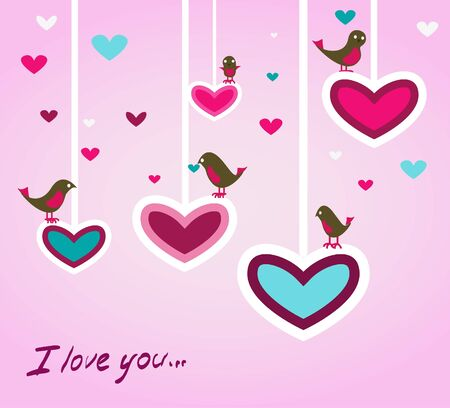 Birds with hearts Vector