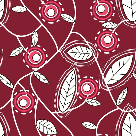 abstract seamless texture in red colors with berry and flowers Stock Vector - 8720951