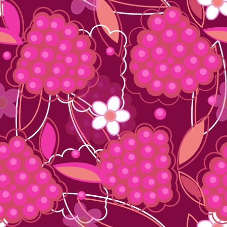 black raspberries: abstract seamless texture in red colors with raspberry and flowers