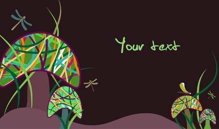 Magic mushrooms and dragonfly Stock Vector - 8870512