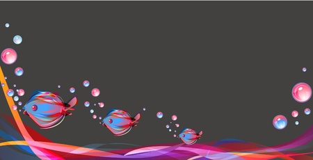 Beautiful abstract background with fish and bright multicolor lines Vector