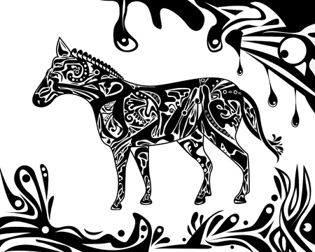 etnic: Abstract illustration with tatoo psyshedelic horse and liquid shapes