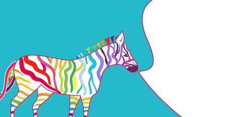 Bright illustration with zebra and spectrum stripe Vector