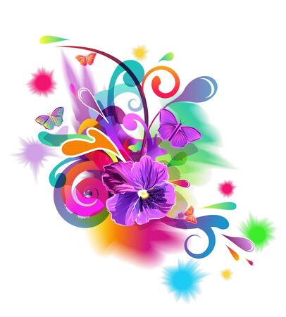 Bright composition with flowers, butterfly and abstract pattern
