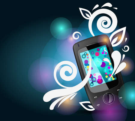 Realistic mobile phone with bright bubbles and floral pattern Stock Vector - 8943096