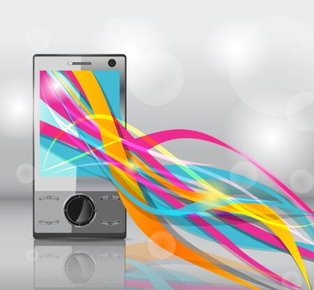 Realistic mobile phone with bright lines Stock Vector - 8943152