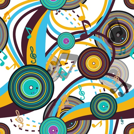 psychedelic background: Retro music seamless bright vector texture