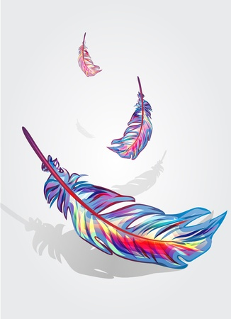 flock: Beautiful bright vector falling feathers