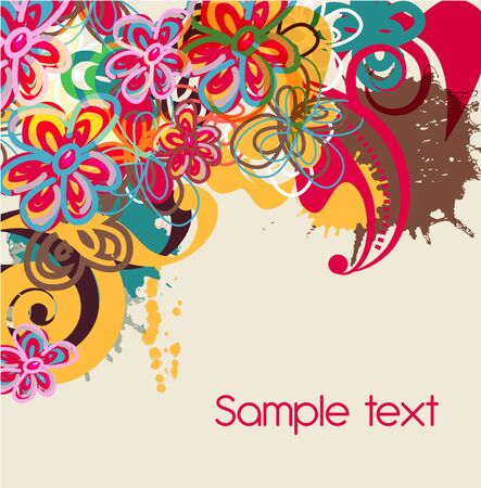 Abstract vector background with bright flower Vector