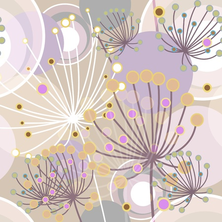 fern: Flowers abstract seamless vector texture in gentle colors Illustration