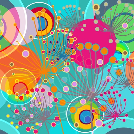 psychedelic background: Flowers abstract seamless vector texture in gentle colors Illustration