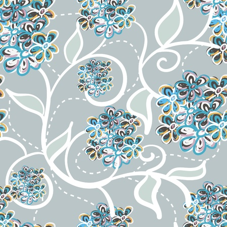 impressive: Lilac vector seamless texture with flowers