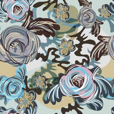 stylized design: Abstract blue background with painting flowers Illustration