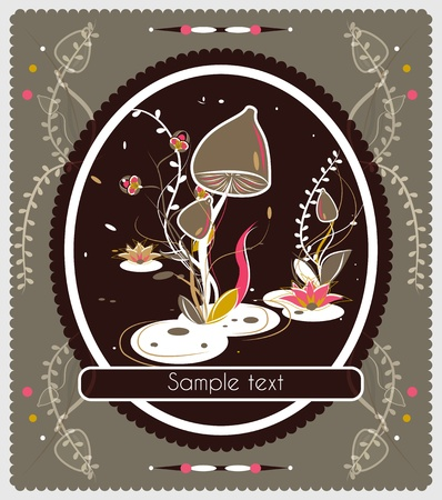 Old-fashioned vector card with mushrooms Vector
