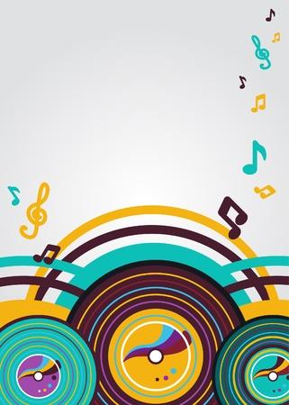 Vecteur abstraite musique arrière-plan avec plaques vyniles Vecteurs