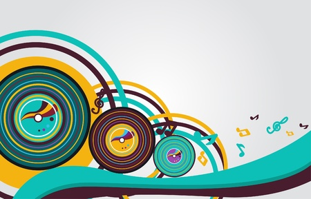 vynil: Abstract vector  music background with vynil plates