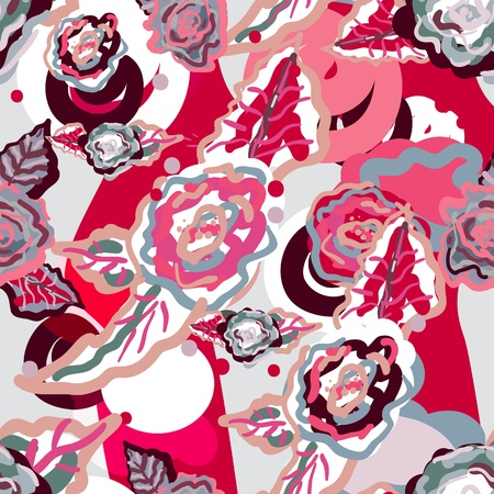 seamless texture with pink roses Vector