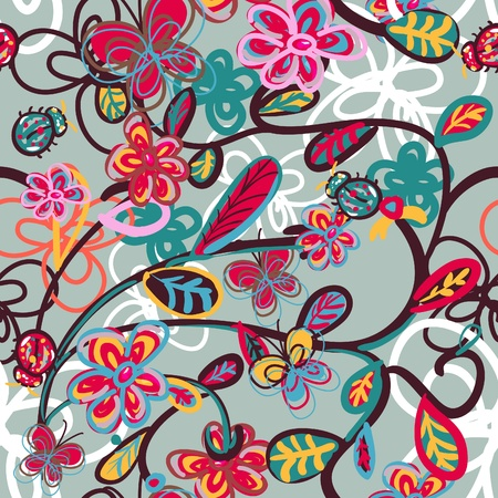 psychedelic background: Abstract floral background with ladybird Illustration