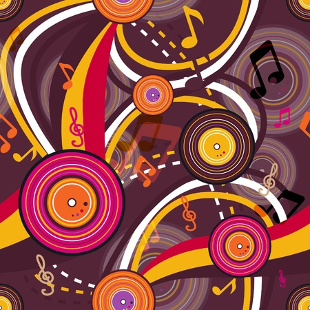 gramophone: Retro music seamless bright texture Illustration