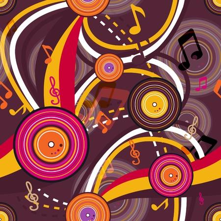 gramophone: Retro music seamless bright texture Illustration