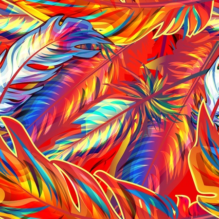 Piuma esotico. Seamless texture luminosa Vettoriali