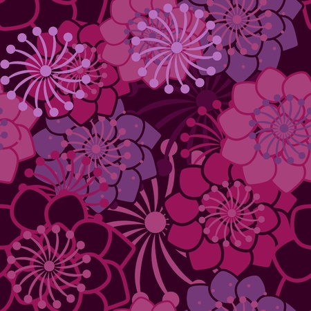 Lilac seamless texture with flowers Vector