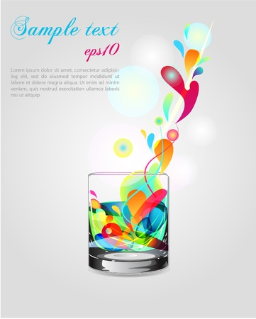abstract liquor: illustration with glass and bright splash Illustration