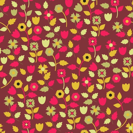 Seamless vector texture with bright flowers Stock Vector - 9190379