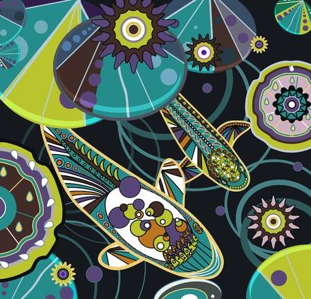 Vector illustration with bright koi fish Vector