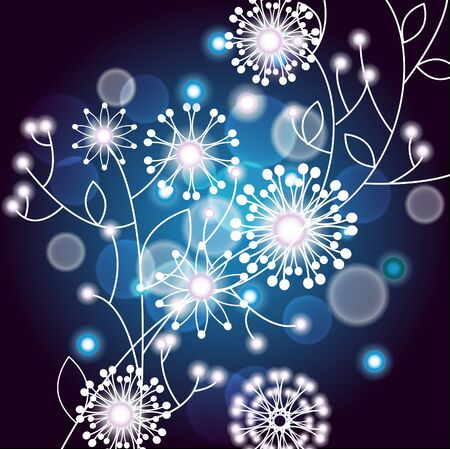 Vector illustration with white twig with flowers on a dark blue background Stock Vector - 9190407