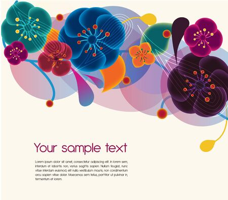 Floral vector background with multicolor flowers Vector