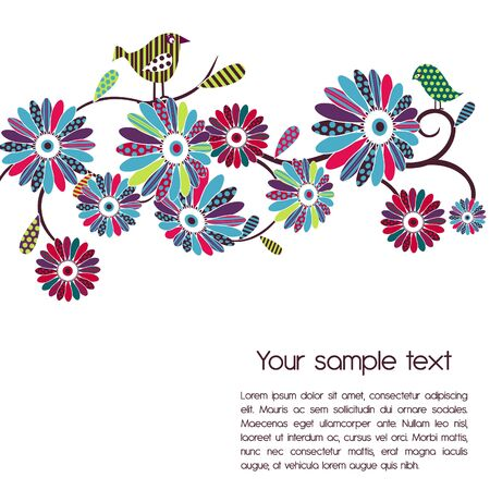 Vector background. Polka-dot flowers and birds