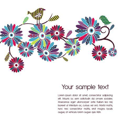 Vector background. Polka-dot flowers and birds Vector