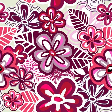 Pink seamless vector wallpaper with hand drawn flowers Vector